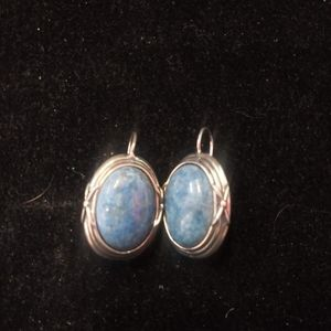 Sterling Silver 925 Earrings with Blue Stone